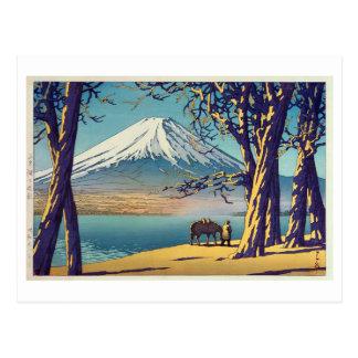 晩秋の富士山, Mt.Fuji in autumn, Hasui Kawase, Woodcut Postcard
