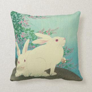 月と兎, 古邨 Rabbits & Moon, Koson, Ukiyo-e Throw Pillow