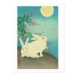 月と兎, conejos y luna, Koson, Ukiyo-e del 古邨 Tarjeta Postal