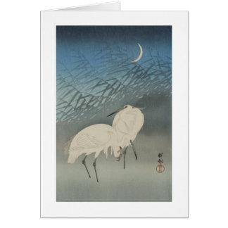 月と白鷺, 古邨 Egrets & Moon, Koson, Ukiyo-e Card