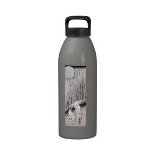 月に兎, luna y conejos, Hiroshige, Ukiyo-e del 広重 Botellas De Agua Reutilizables