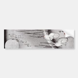 月に兎, luna y conejos, Hiroshige, Ukiyo-e del 広重 Pegatina De Parachoque