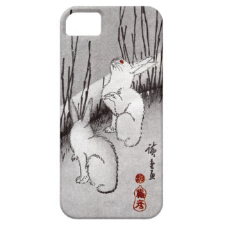 月に兎, luna y conejos, Hiroshige, Ukiyo-e del 広重 iPhone 5 Case-Mate Carcasas