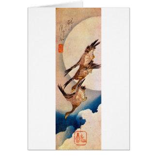 月に雁, 広重 Moon & Wild Goose, Hiroshige, Ukiyo-e Card