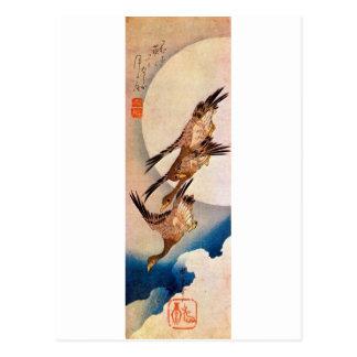 月に雁, luna y ganso salvaje, Hiroshige, Ukiyo-e del  Postal