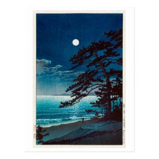 月の二宮海岸, 川瀬巴水 Moon at Ninomiya Beach, Hasui Kawase Postcard