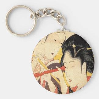 望遠鏡を覗く女, chica del 北斎 con el telescopio, Hokusai, Llavero Redondo Tipo Pin