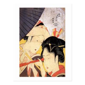 望遠鏡を覗く女, chica del 北斎 con el telescopio, Hokusai, Postal