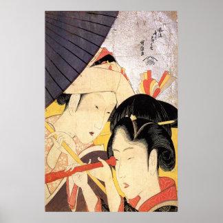 望遠鏡を覗く女, chica del 北斎 con el telescopio, Hokusai, Póster