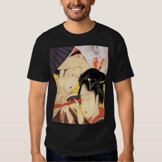 望遠鏡を覗く女, chica del 北斎 con el telescopio, Hokusai, Remera
