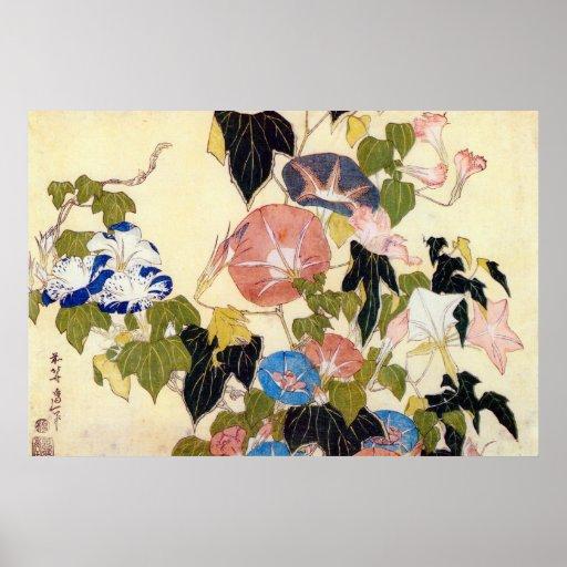 朝顔, 北斎 Morning Glory, Hokusai, Ukiyo-e Poster