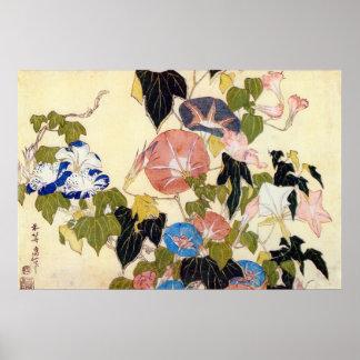 朝顔, correhuela del 北斎, Hokusai, Ukiyo-e Posters