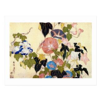 朝顔, correhuela del 北斎, Hokusai, Ukiyo-e Tarjeta Postal