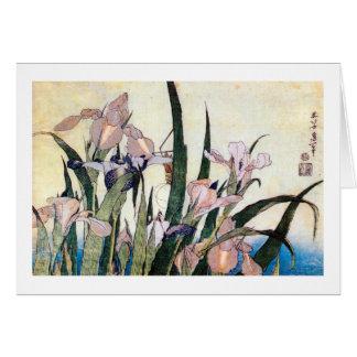 杜若ときりぎりす iris y saltamontes Hokusai del 北斎 Tarjetas
