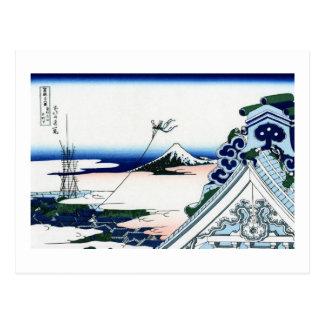 東都浅草本願寺, 北斎 View Mt.Fuji from Asakusa, Hokusai Postcard