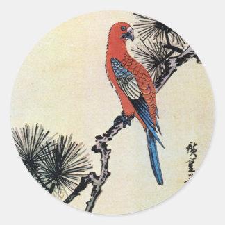 松にインコ, 広重 Pine and Parakeet, Hiroshige, Ukiyo-e Round Stickers