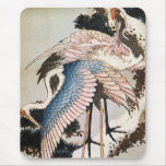 松に鶴, 北斎 Cranes on Pine Tree, Hokusai, Ukiyo-e Mouse Pad