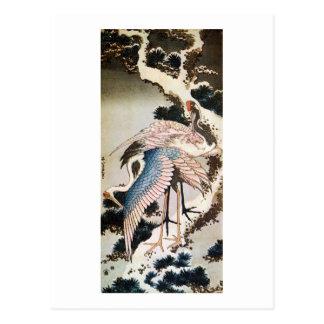 松に鶴, 北斎 Cranes on Pine Tree, Hokusai, Ukiyo-e Post Card