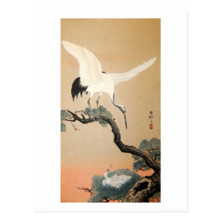 松に鶴, 古邨 Crane on Pine Tree, Koson, Ukiyo-e Postcard