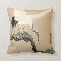 松に鶴, 古邨 Crane on Pine Tree, Koson, Ukiyo-e Throw Pillow