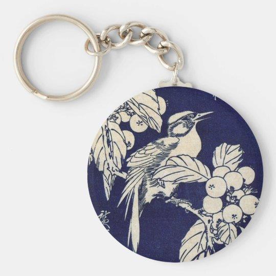 枇杷に鳥, 広重 Bird and Loquat, Hiroshige, Ukiyo-e Keychain