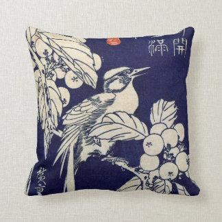 枇杷に鳥, pájaro y Loquat, Hiroshige, Ukiyo-e del 広重 Cojín