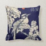 枇杷に鳥, pájaro y Loquat, Hiroshige, Ukiyo-e del 広重 Cojin