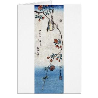 枝垂桜に鳥 広重 Bird Weeping Cherry Hiroshige Ukiyoe Card