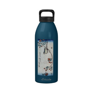 枝垂桜に鳥, 広重 Bird & Weeping Cherry, Hiroshige, Ukiyoe Drinking Bottle