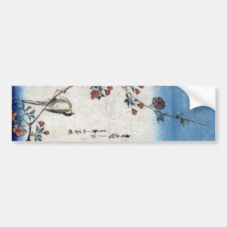 枝垂桜に鳥, pájaro y cereza que llora, Hiroshige, Ukiyo Pegatina Para Auto