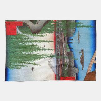 柳と富士, 広重 Willow and Mt. Fuji, Hiroshige, Ukiyo-e Hand Towels