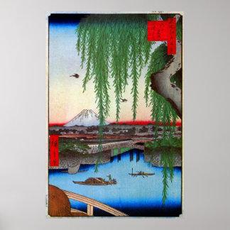 柳と富士, sauce y el monte Fuji, Hiroshige, Ukiyo-e Póster