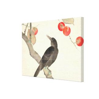 柿に烏, 抱一 Persimmon and Crow, Hōitsu Canvas Print