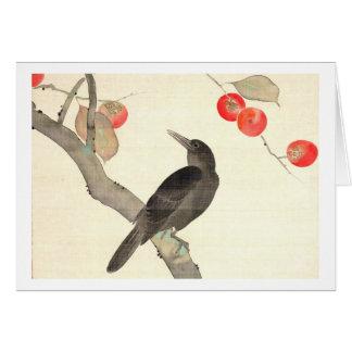 柿に烏, 抱一 Persimmon and Crow, Hōitsu Card