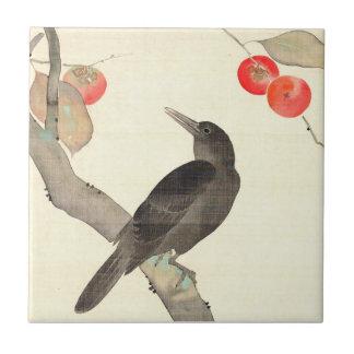 柿に烏, 抱一 Persimmon and Crow, Hōitsu Ceramic Tile