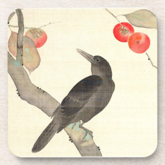 柿に烏, 抱一 Persimmon and Crow, Hōitsu Drink Coaster