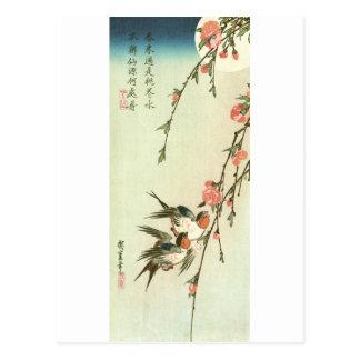 桃の花に燕, flor y trago, Hiroshige del melocotón del 広 Tarjeta Postal