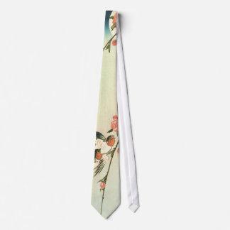 桃の花に燕, flor y trago, Hiroshige del melocotón del Corbatas Personalizadas