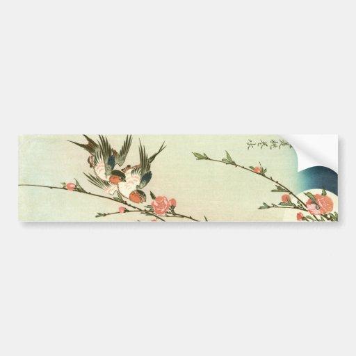 桃の花に燕, flor y trago, Hiroshige del melocotón del Pegatina Para Auto