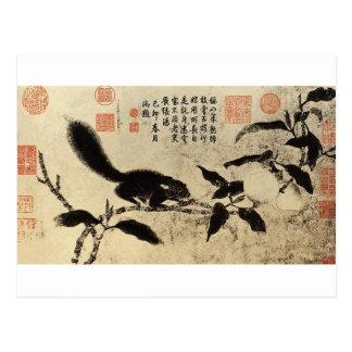 桃枝松鼠图 by  Qian Xuan Postcard