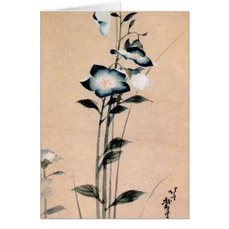 桔梗, 北斎 Chinese bellflower, Hokusai Ukiyo-e Card