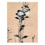 桔梗, 北斎 Chinese bellflower, Hokusai Ukiyo-e Postcard