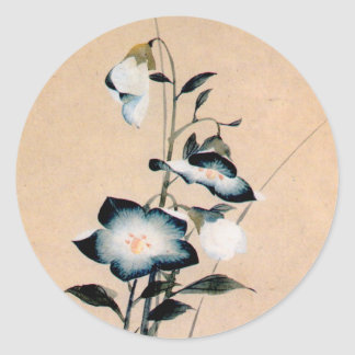 桔梗, 北斎 Chinese bellflower, Hokusai Ukiyo-e Round Sticker