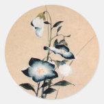 桔梗, bellflower chino del 北斎, Hokusai Ukiyo-e Etiqueta Redonda
