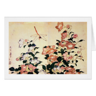 桔梗, Bellflower y libélula, Hokusai, Ukiyoe del 北斎 Tarjeta De Felicitación