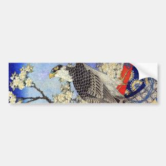 桜にハヤブサ, Falcon & Cherry Blossoms, Hokusai, Ukiyo-e Car Bumper Sticker