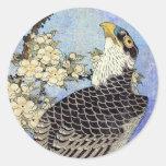 桜にハヤブサ, halcón y flores de cerezo, Hokusai, Pegatinas Redondas
