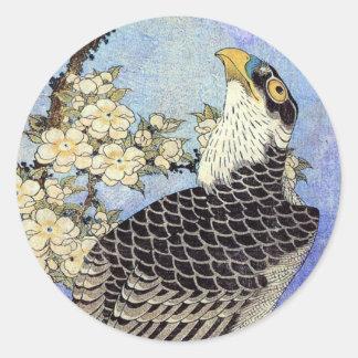 桜にハヤブサ, halcón y flores de cerezo, Hokusai, Pegatina Redonda