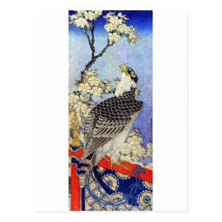 桜にハヤブサ halcón y flores de cerezo Hokusai Ukiyo- Tarjetas Postales