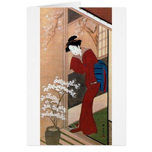 桜の花と女, 春章 Cherry Blossoms and a Woman, Shunsho Card